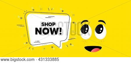 Shop Now Text. Cartoon Face Chat Bubble Background. Special Offer Sign. Retail Advertising Symbol. S