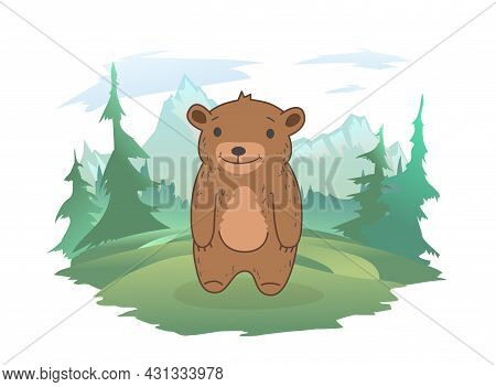 A Cute Bear Cub Standing On A Forest Lawn, A Mountain Landscape In The Background. Vector Illustrati