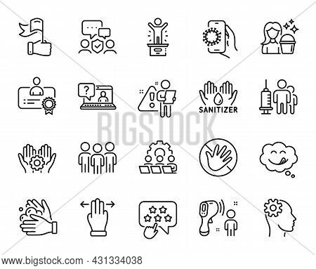 Vector Set Of Employee Hand, Yummy Smile And Multitasking Gesture Line Icons Set. Ranking Star, Grou