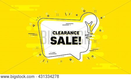 Clearance Sale Text. Idea Yellow Chat Bubble Banner. Special Offer Price Sign. Advertising Discounts