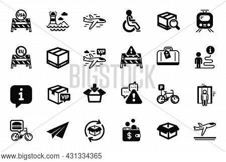 Vector Set Of Transportation Icons Related To Get Box, Return Parcel And Lighthouse Icons. Train, Vi