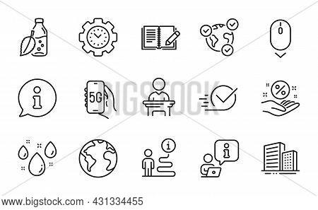 Business Icons Set. Included Icon As Scroll Down, Feedback, Time Management Signs. Loan Percent, Onl