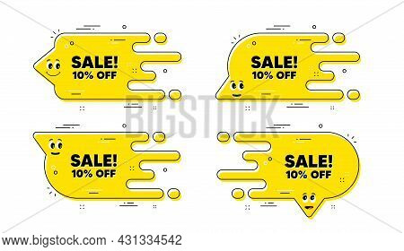 Sale 10 Percent Off Discount. Cartoon Face Transition Chat Bubble. Promotion Price Offer Sign. Retai