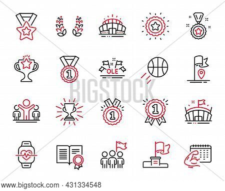Vector Set Of Sports Icons Related To Laurel Wreath, Cardio Training And Basketball Icons. Winner, L