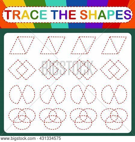 An Educational Children\'s Vector Game Called Trace The Shapes. Handwriting Practice
