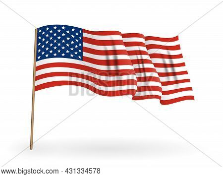 National Flag Of America. Usa Banner Waving On A Flagpole. Vector Illustration. Eps10