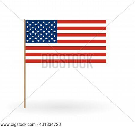 National Flag Of America. Usa Banner On A Flagpole. Vector Illustration. Eps10