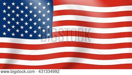 National Flag Of America. Waving Usa Banner Close Up. Vector Illustration. Eps10