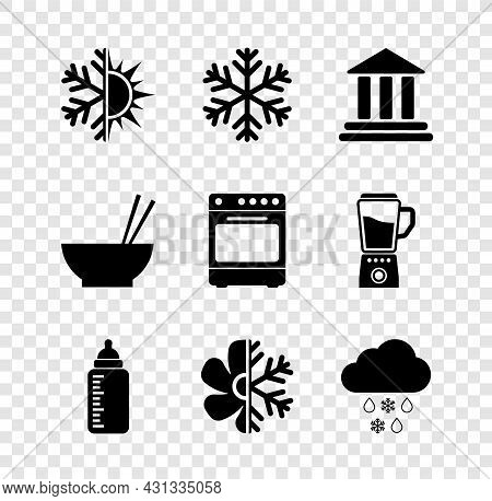 Set Sun And Snowflake, Snowflake, Bank Building, Baby Bottle, Air Conditioner And Cloud With Rain Ic