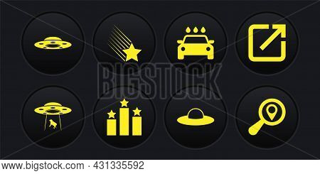 Set Ufo Abducts Cow, Open In New Window, Ranking Star, Flying Spaceship, Car Wash And Falling Icon.