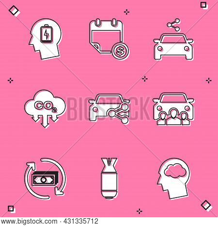 Set Head With Low Battery, Financial Calendar, Car Sharing, Co2 Emissions Cloud, And Icon. Vector