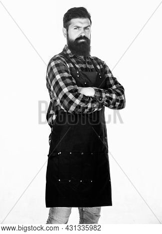 Wrap Around Design Fits Him Perfectly. Cook With Long Beard Wearing Bib Apron. Master Cook In Cookin
