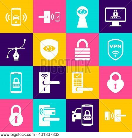 Set Digital Door Lock With Wireless, Castle In The Shape Of Heart, Shield Vpn, Keyhole Eye, And And