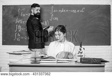 He Didnt Learn Lesson. Bearded Man Cheating At Lesson. School Teacher Conducting Lesson In Class. Le