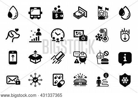 Vector Set Of Business Icons Related To Send Box, Clean Skin And Leaf Dew Icons. Builder Warning, Se