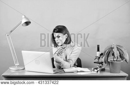 Surfing Net. Girl Pretty Attractive Student Laptop. Modern Student Girl. Education Concept. Student