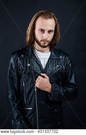 Bearded Man Biker In Leather Jacket With Long Hair, Fashion