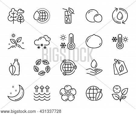 Vector Set Of Thermometer, Tree And Leaves Line Icons Set. Water Glass, Moon Stars And Organic Teste