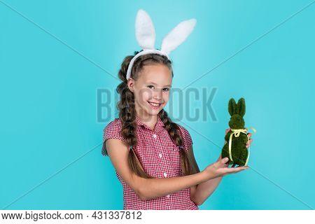 Happy Teen Girl In Bunny Ears Hold Rabbit Toy, Happy Easter.