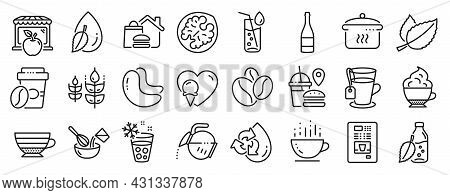 Set Of Food And Drink Icons, Such As Gluten Free, Fast Food, Recycle Water Icons. Cashew Nut, Ice Ma