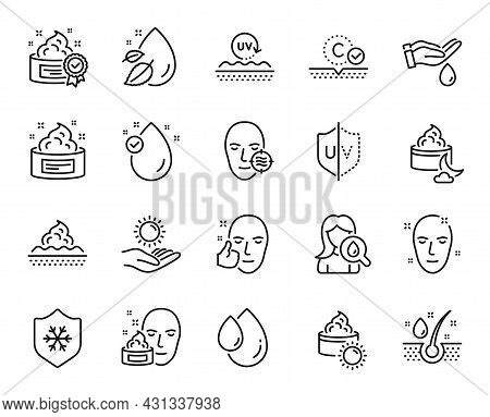 Vector Set Of Serum Oil, Cream And Problem Skin Line Icons Set. Clean Skin, Uv Protection And Health