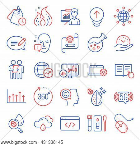 Science Icons Set. Included Icon As Fire Energy, Time Management, Swipe Up Signs. Cogwheel Blueprint