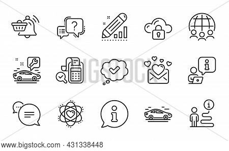 Technology Icons Set. Included Icon As Atom, Bill Accounting, Global Business Signs. Notification Ca