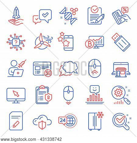 Technology Icons Set. Included Icon As Internet, Refrigerator, Search Statistics Signs. Bitcoin Char