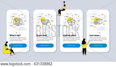 Vector Set Of Line Icons Related To Creative Design, Cappuccino And Open Box Icons. Ui Phone App Scr