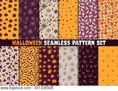 12 Different Halloween Vector Seamless Patterns. Endless Texture Can Be Used For Wallpaper, Pattern