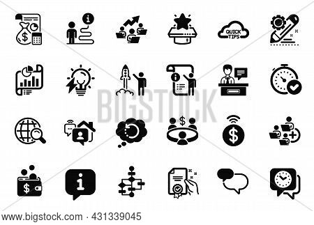 Vector Set Of Education Icons Related To Meeting, Exhibitors And Quick Tips Icons. Fast Verification