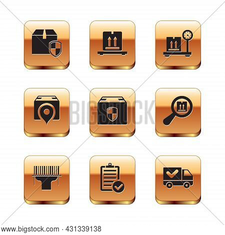 Set Delivery Box Security Shield, Scanner Scanning Bar Code, Verification Of Delivery List, Location