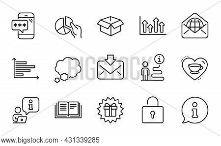 Business Icons Set. Included Icon As Surprise Gift, Horizontal Chart, Phone Password Signs. Lock, Ed