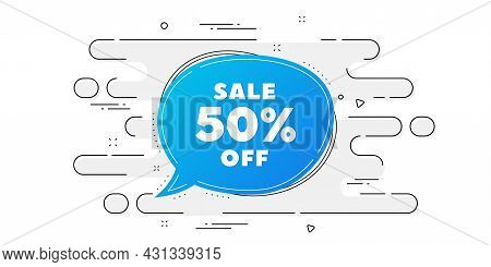 Sale 50 Percent Off Bubble Banner. Geometric Ad Banner On Flow Pattern. Discount Sticker Shape. Coup