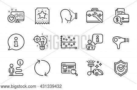 Technology Icons Set. Included Icon As Dot Plot, Refresh, Heart Signs. Hair Dryer, Confirmed, Vacuum