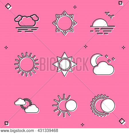 Set Cloud, Sun, Sunset, With Moon And Stars, Cloud Weather And Eclipse Of Sun Icon. Vector