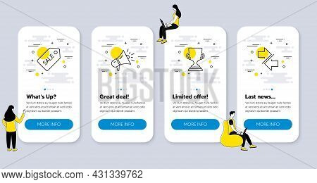 Set Of Line Icons, Such As Sale Ticket, Award Cup, Megaphone Icons. Ui Phone App Screens With People