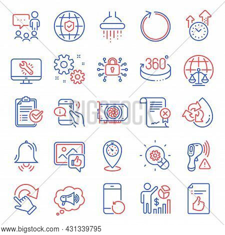 Technology Icons Set. Included Icon As Timer, Electronic Thermometer, Global Insurance Signs. Work,