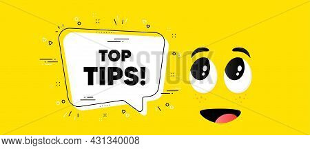 Top Tips Symbol. Cartoon Face Chat Bubble Background. Education Faq Sign. Best Help Assistance. Top
