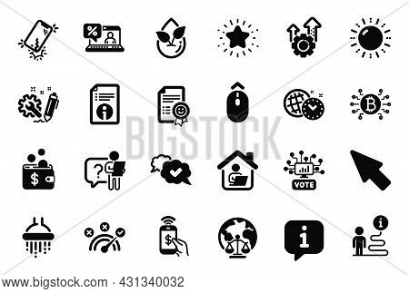 Vector Set Of Technology Icons Related To Online Voting, Seo Gear And Correct Answer Icons. Online L