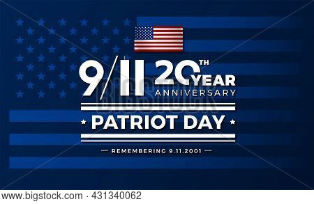 911 Usa September 11, 2001. Vector Conceptual Illustration For Patriot Day Usa 20 Years For Poster O