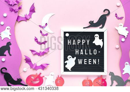 Text Happy Halloween On Letter Board, Letterboard. Cute Background With Black Cats, Vibrant Purple P