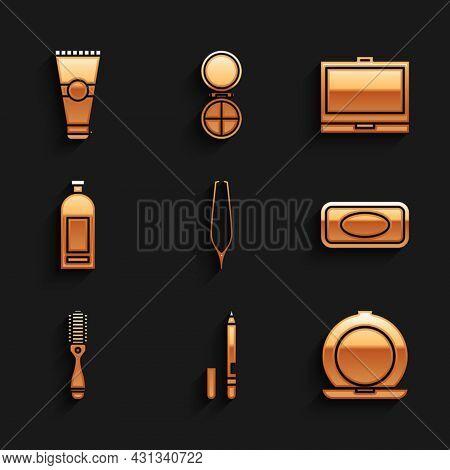 Set Eyebrow Tweezers, Eyeliner, Eyebrow, Makeup Powder With Mirror, Bar Of Soap, Hairbrush, Bottle S