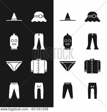 Set Pants, Balaclava, Gardener Worker Hat, Elegant Women, Men Underpants, T-shirt, And Sport Icon. V