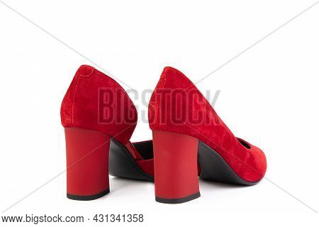 Classic And Elegant Suede High-heeled Women Shoes. Stylish Red Shoes On High Block Heels And With A