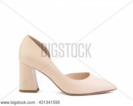 Classic And Elegant Suede High-heeled Women Shoes. Stylish Beige Shoes On High Block Heels And With