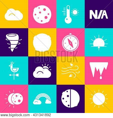 Set Sun, Icicle, Sunrise, Meteorology Thermometer, Moon, Tornado, Cloud And Compass Icon. Vector
