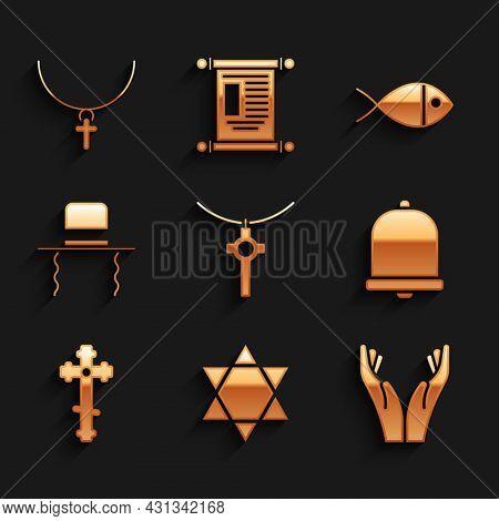 Set Christian Cross On Chain, Star Of David, Hands Praying Position, Church Bell, Orthodox Jewish Ha