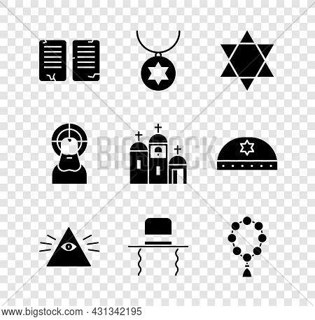 Set The Commandments, Star Of David Necklace On Chain, Masons, Orthodox Jewish Hat With Sidelocks, R