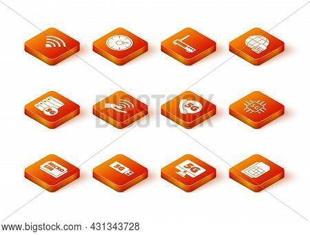 Set Micro Sim Card, 5g Modem, Server Network, Monitor With, Phone, Card And Processor Icon. Vector